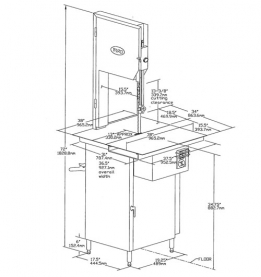"Drawing 3 – Model 3334SS-TL Trim Saw True left to right feed. 15-1/2""W (393mm) x 38""(960mm) Stationary front S.S. table. Movable S.S. head and door structure less meat gauge plate assembly. Also available on the Model 3334SS-4003 true left to right feed. 17-1/2W (455mm) x 38"" (960mm) stationary front table, less meat gauge plate assembly."