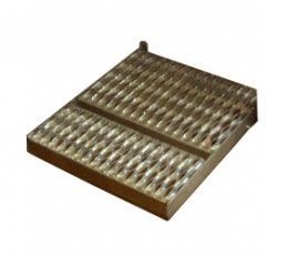 "Optional (EC), Fold-up Stainless Steel Step. 18"" (457 mm) wide x 19-3/4"" (502 mm) deep."