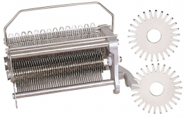 Cutlet Tenderizer Blade Cradle assembly designed for delicate products (chicken breast, veal, squid) by gently piercing 2125 product pierces per revolution, adding to your value-added product mix (veal scalopini and veal parmesan).