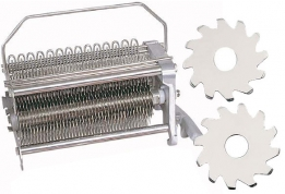 The Standard Tenderizer Blade Tips cut deep (1020 times per revolution) into the product to sever sinew and fiber. Turn your tenderizer into a Knitting machine by changing the position of the rear stripper and feed 2-3 smaller pieces of hard-to-merchandise pieces to form one value-added knitted steak.